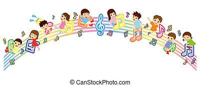 bambini, versione, -, punteggio, asiatico, arco, musicale