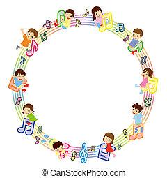 bambini, versione, -, punteggio, asiatico, cerchio, musicale