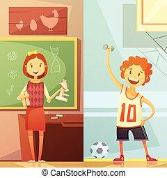 bambini, verticale, 2, bandiere, educazione, cartone animato
