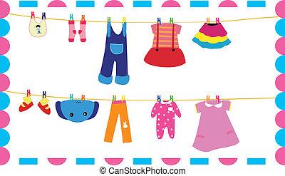bambini, vestiti, su, corda del bucato