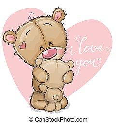 bambino, abbracciare, madre, orso