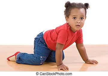 bambino, adorabile, crawl, africano