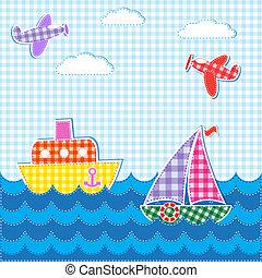 bambino, aerei, navi, fondo