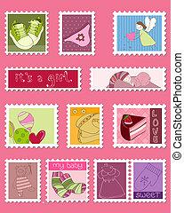 bambino, affrancatura, ragazza, francobolli