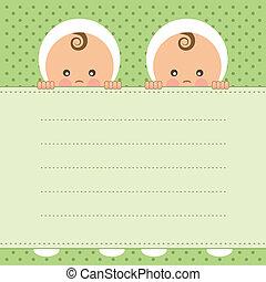 bambino, annuncio, gemelli, card.