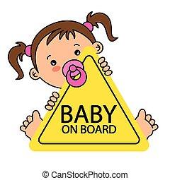bambino, asse, segno