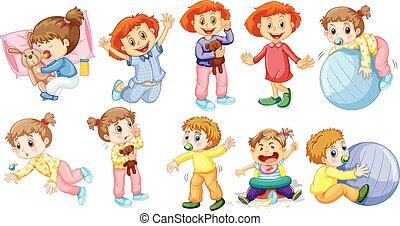 bambino, attività, differente, ragazze, ragazzi