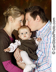 bambino, baciare, coppia