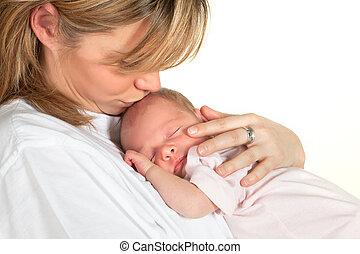 bambino, baciare, madre