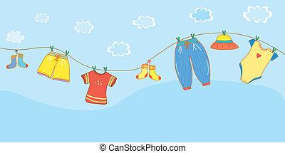 bambino, bandiera, cielo, cartone animato, vestiti