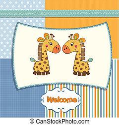bambino, benvenuto, gemelli, giraff, scheda