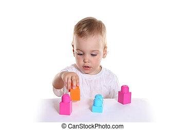 bambino, blocchi giocattolo