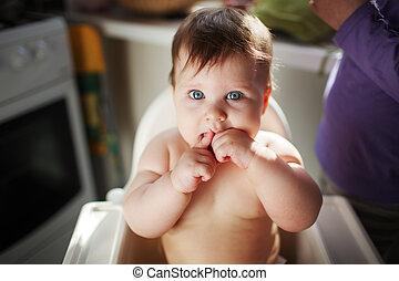 bambino, bocca, mani