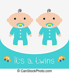 bambino, boys., appartamento, design., card., doccia, relativo, gemelli