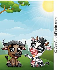 bambino, bufalo, giungla, mucca, cartone animato