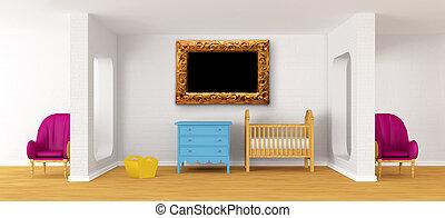 bambino, camera letto, con, uno, crib.