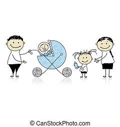 bambino, camminare, carrozzino, genitori, bambini