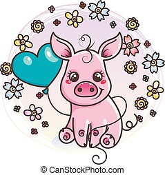 bambino, carino, amore, cartone animato, maiale