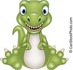 bambino, carino, cartone animato, dinosauro