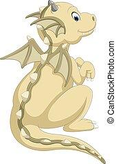 bambino, carino, cartone animato, drago