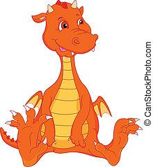 bambino, carino, cartone animato, fuoco, drago