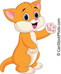 bambino, carino, cartone animato, gatto