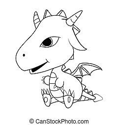 bambino, carino, cartone animato, illustrazione, drago