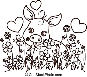 bambino, carino, cartone animato, maiale
