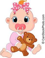 bambino, carino, cartone animato