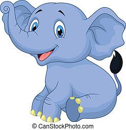 bambino, carino, elefante, cartone animato, seduta