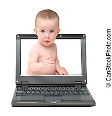 bambino, carino, laptop, schermo