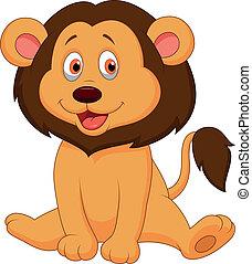bambino, carino, leone, cartone animato