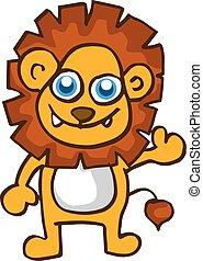 bambino, carino, leone, vettore, cartone animato