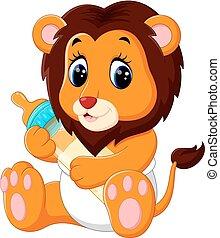 bambino, carino, leone