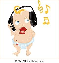 bambino, carino, music., un po', ascolto