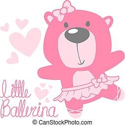 bambino, carino, orso, ballerina