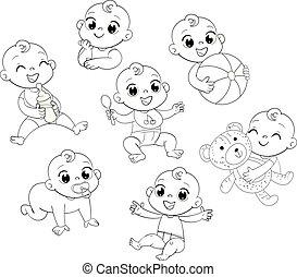 bambino, carino, poco, set, pannolino
