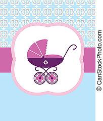 bambino, carrozzina, bambino, nascita, scheda, design., vettore, illustrazione