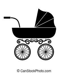 bambino, carrozzina, carrello, -