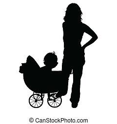 bambino, carrozzina, madre