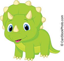 bambino, cartone animato, carino, triceratops