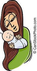 bambino, cartone animato, illustrazione, madre