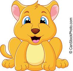 bambino, cartone animato, leone, carino