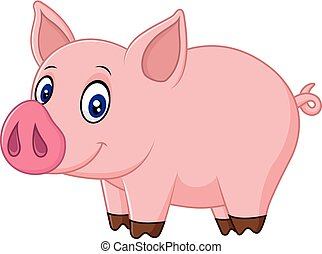 bambino, cartone animato, maiale, carino