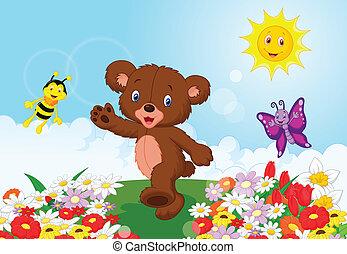 bambino, cartone animato, orso, felice