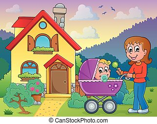 bambino, casa, madre