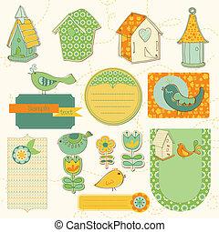 bambino, case, scarto, uccello, uccelli