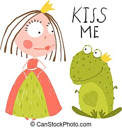 bambino, chiedere, bacio, rana, principessa