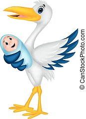bambino, cicogna, cartone animato