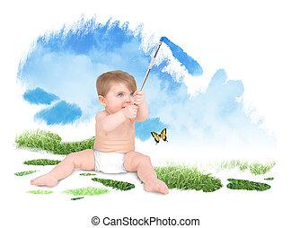 bambino, cielo, verde, pittura, natura